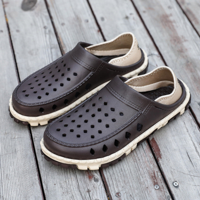 Men Hole Breathable Slip On Water Beach Sandals - fashionshoeshouse