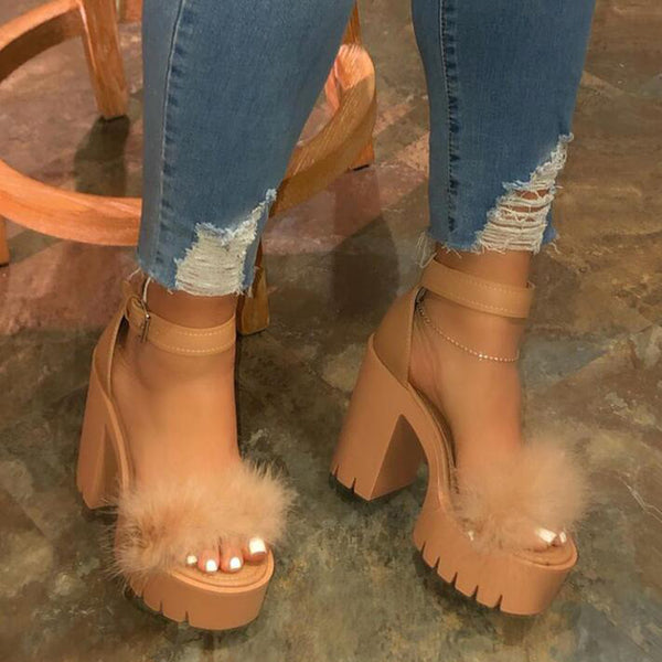 Women Summer Fashion Ankle Strap Furry Platform Sandals