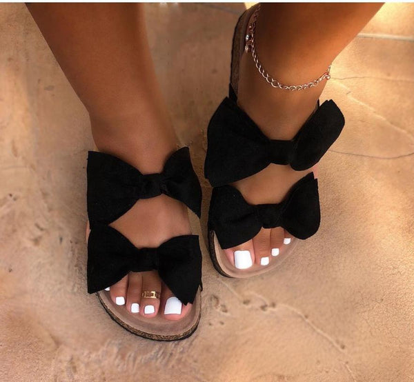 Women Slides 2 Straps Comfy Bow Slide Sandals - fashionshoeshouse