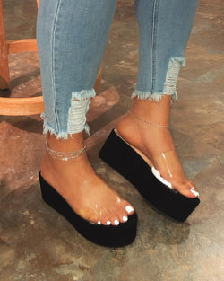 Women Slip On Clear Strap Chunky Platform Sandals