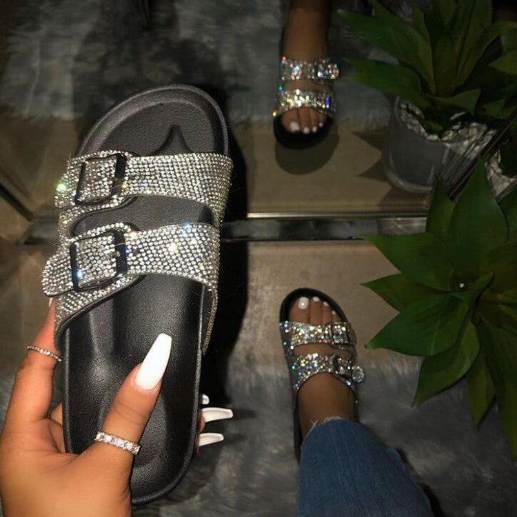 Women Buckle Two Strap Bling Slide Sandals