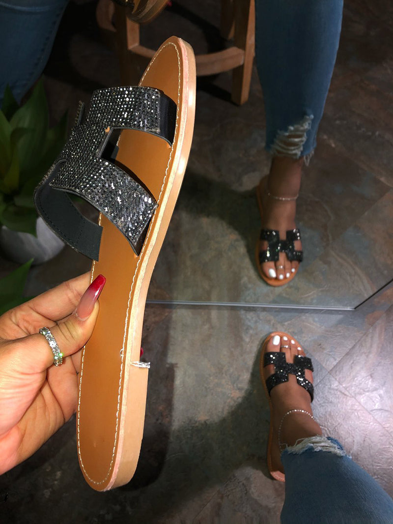 Women Hot Fashion Summer Beach Flat Silver Sandals