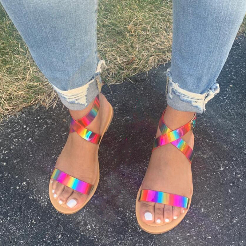 Women Multicolor Sparkly Criss Cross Strap Flat Sandals