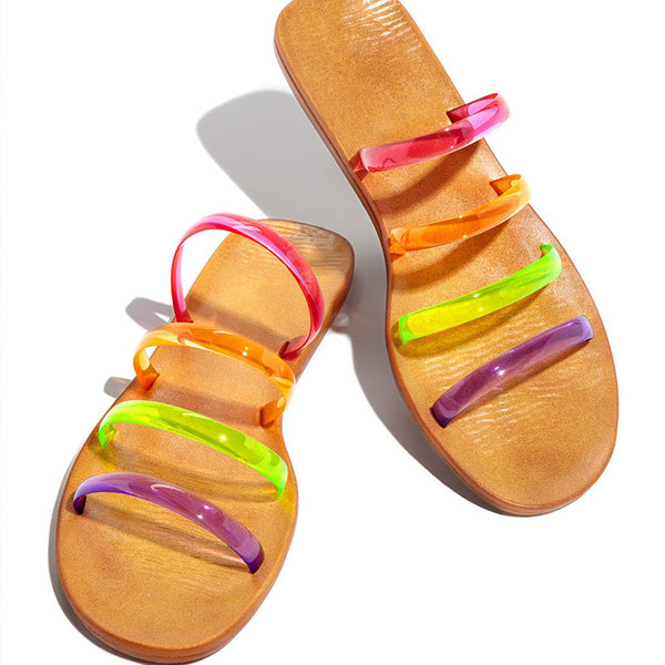 Women Summer Beach Slides Rainbow Jelly Sandals
