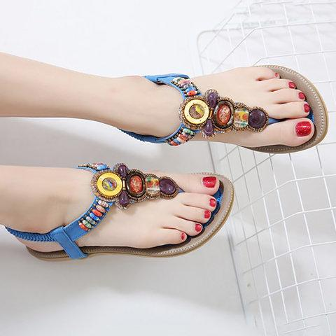 Bohemia Beads Slip On Flip Flops Shiny Flat Heel Sandals - fashionshoeshouse