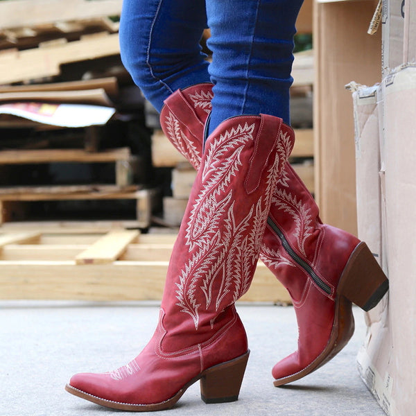 Women Pointed Toe Chunky Heel Zipper Embroidered Knee High Cowboy Boots
