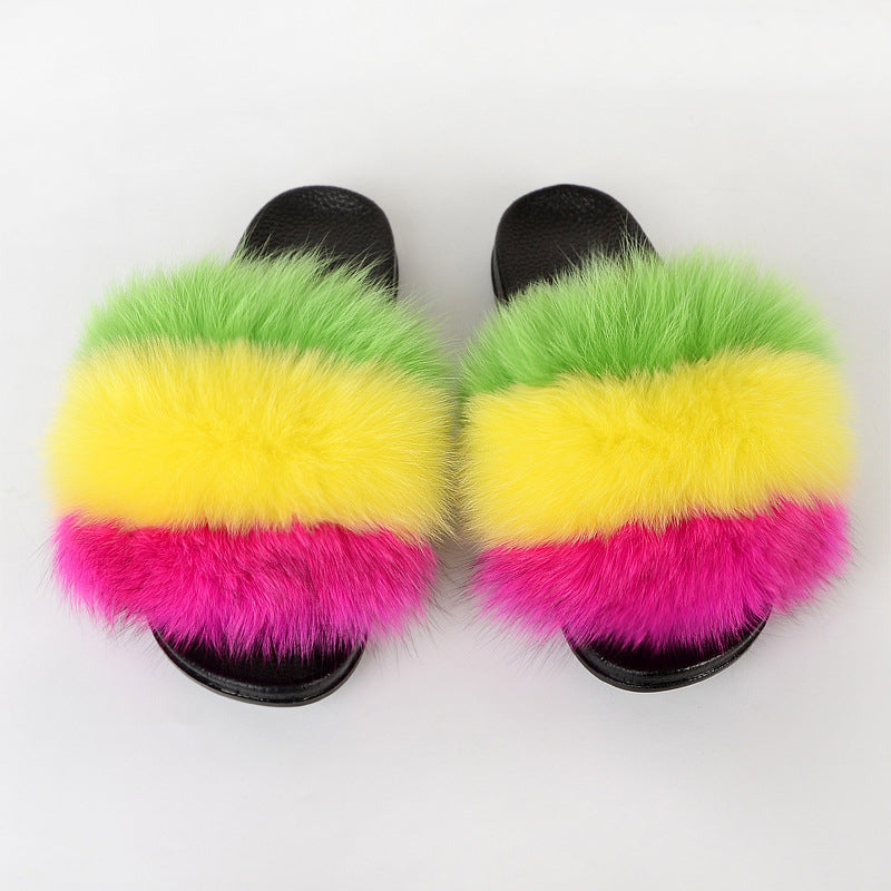 Women Summer Outdoor Beach Fluffy Slide Sandals