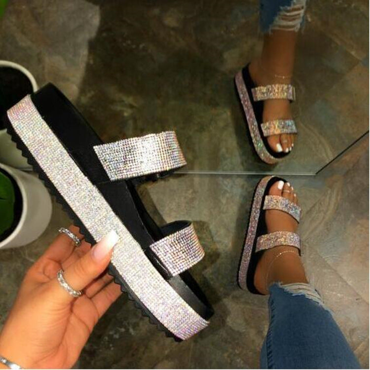 Women Bling 2 Strap Platform Slide Sandals