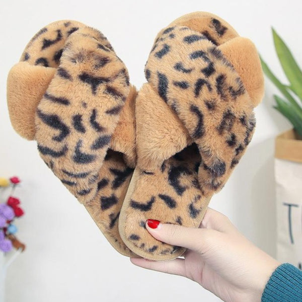 Fashion leopard criss cross furry slippers winter warm house shoes