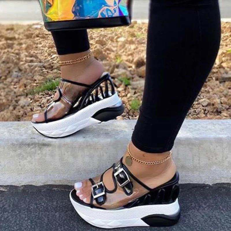 Women High Heel Wedge Chunky Platform Sandals