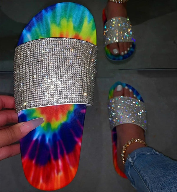Women Summer Shoes Multicolor Flat Heel Rhinestone Slide Sandals