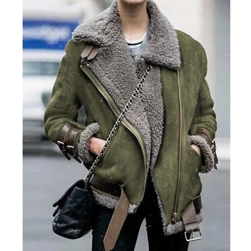 Women's fur collar biker jacket coat turn-down collar coat with fur trim