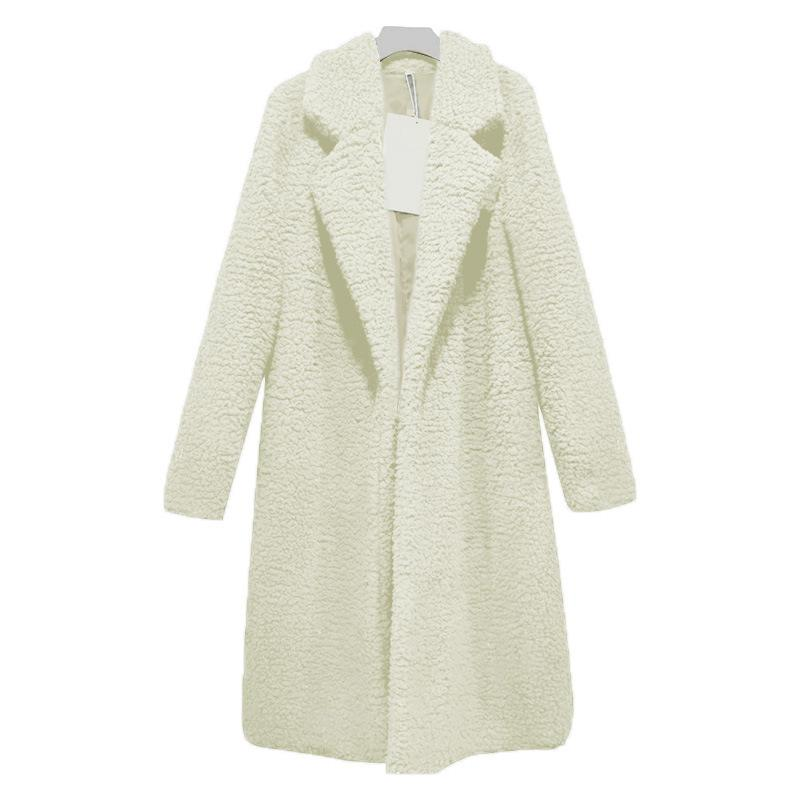 Women Plus Size Turn-down Collar Long Teddy Coat - fashionshoeshouse