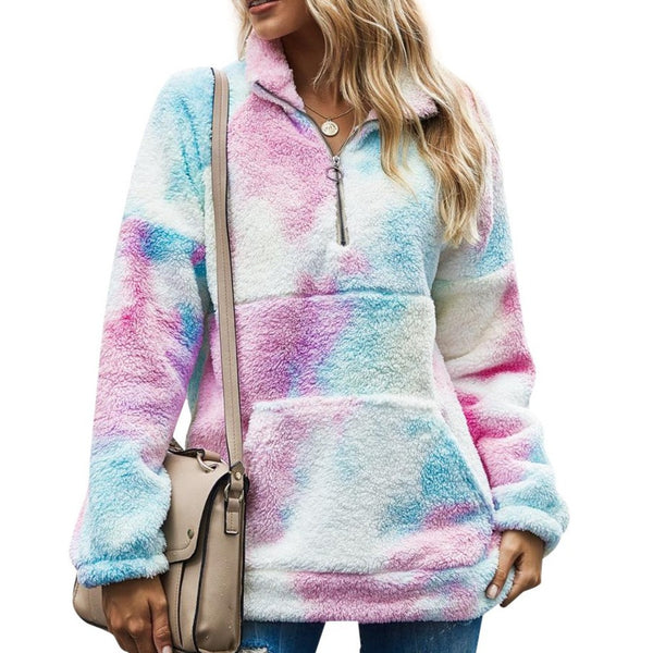 Fashion tie dye sweashirt for women quarter zip sweater with polo neck