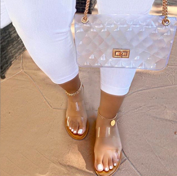 Women Summer Casual Two Strap Slide Sandals