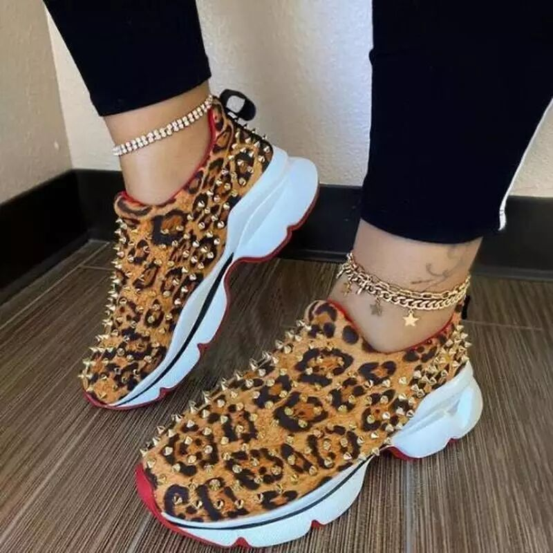 Women Casual Studded Slip On Platform Sneakers