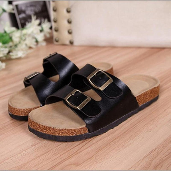 Women Clogs Wodden Buckle Strap Slide Sandals