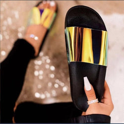Women Sparkling Sequin Beach Casual Slide Sandals