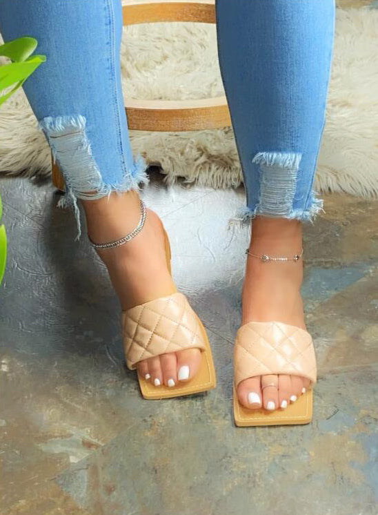 Women New Fashion Square Toe Slide Sandals