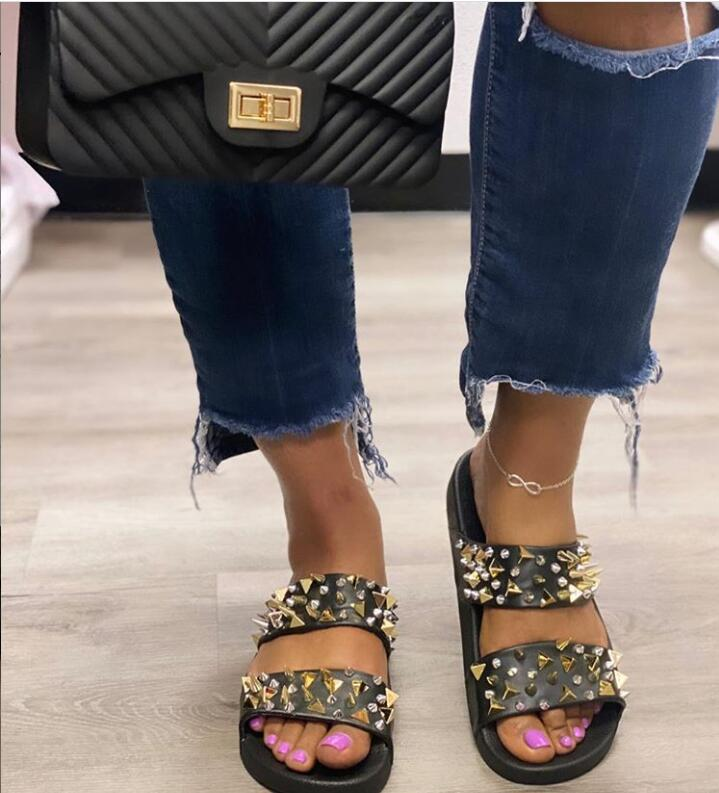 Women Outdoor Fashion 2 Strap Studded Slide Sandals