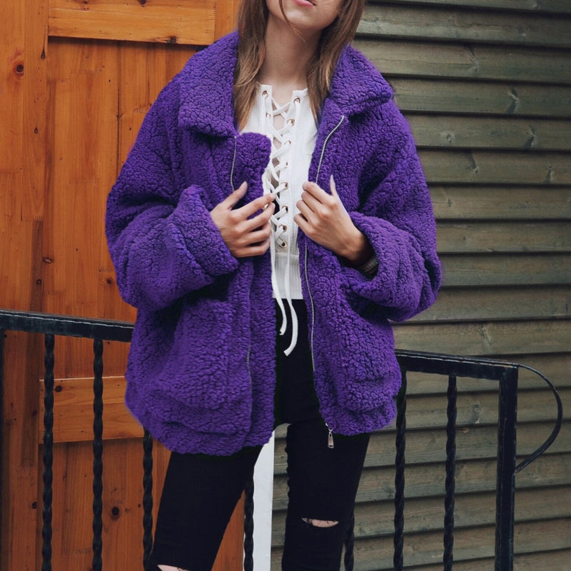 Women's zipper teddy cargidan coat with pockets oversized chunky coat