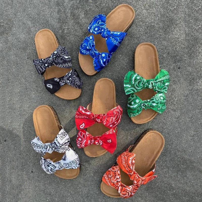 Women Slides 2 Strap Comfy Bow Slide Sandals