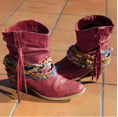 Women Winter Fall New Fashion Handmade Fringe Chunky Heel Short Cowboy Boots