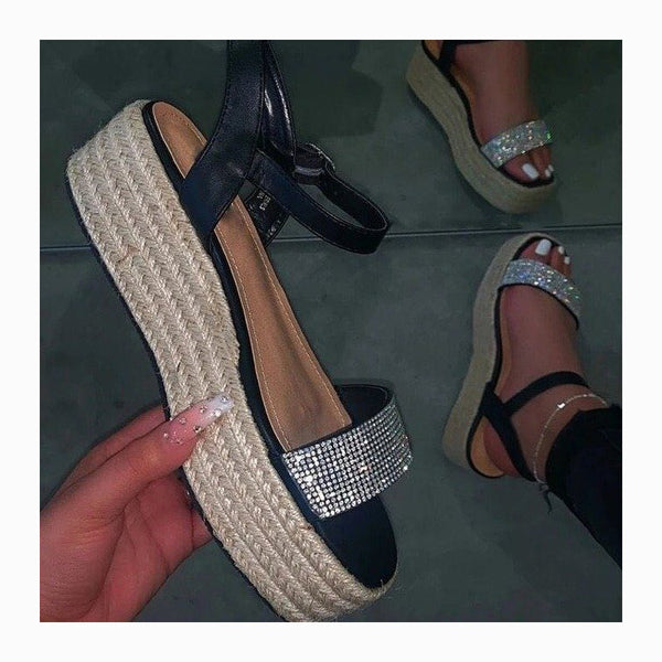 Women Rhinestone Chunky Hemp Rope Flatform Sandals