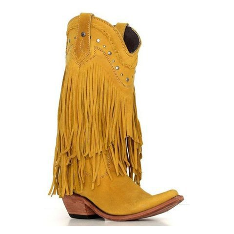 Women's mid calf flowers embroidered cowboy boots pointed toe