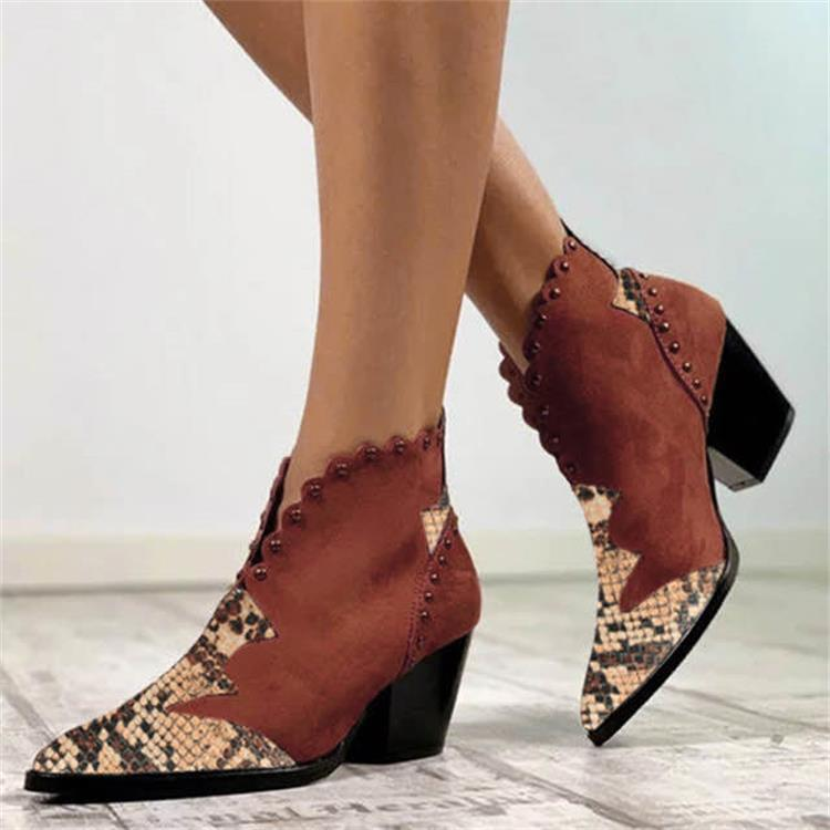 Women Pointed Toe Studded Snakeskin Heeled Boots