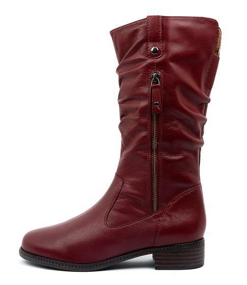 Women's low heel mid calf riding boots plush lining retro zipper slouch boots