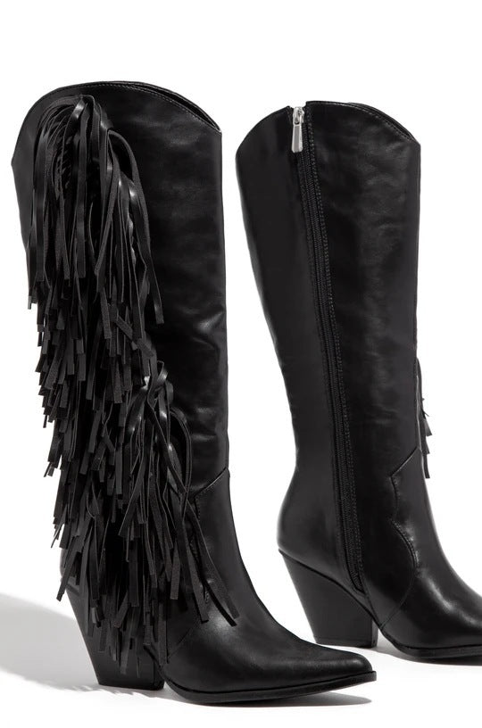 2020 Winter New Fashion Female Chunky Pointed Toe Women Heeled Fringe Boots