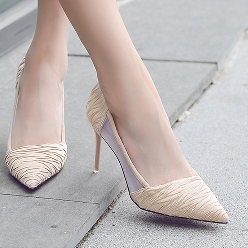 59d6576915e 2 1 3 Inch Height Silk Cloth Breathable Pointed Toe Heels For Women -  fashionshoeshouse