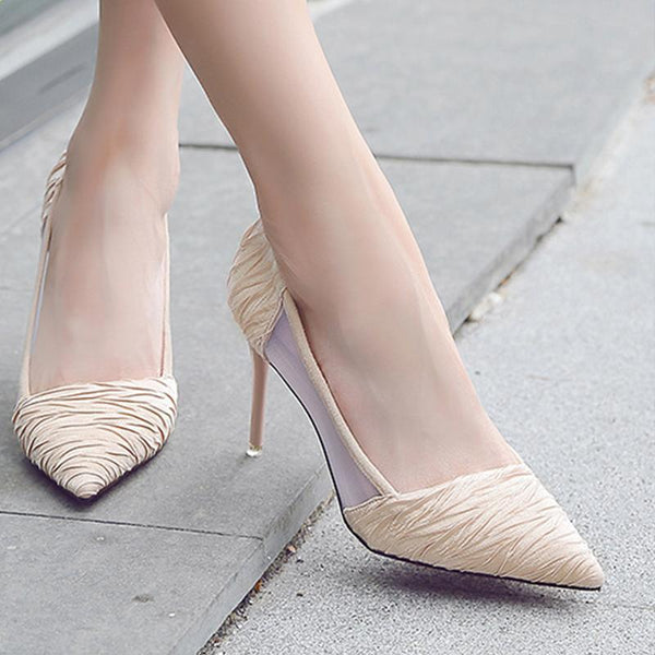 2 1/3 Inch Height Silk Cloth Breathable Pointed Toe Heels For Women - fashionshoeshouse