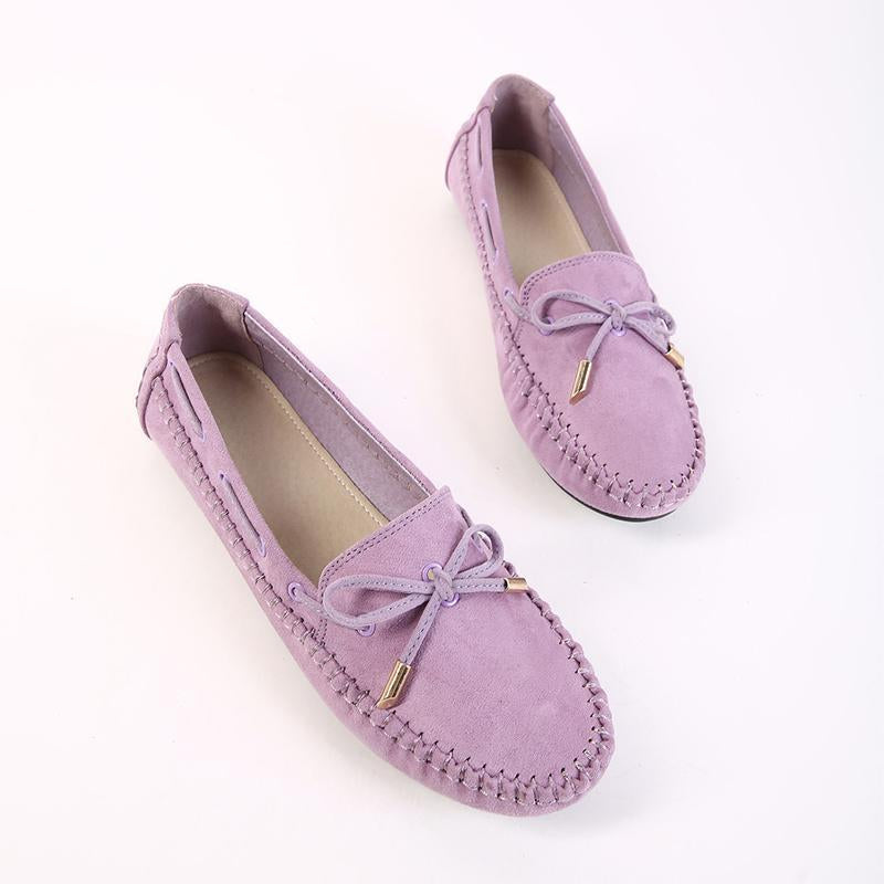 Casual Bowknot Round Toe Purple Flat Shoes For Women - fashionshoeshouse