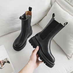 Women England Style Leather Stitching Chunky Platform Black Chelsea Boots