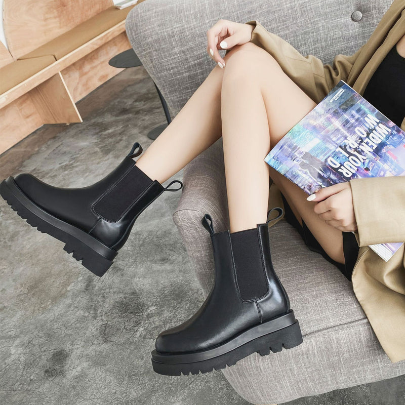 Round Toe High Heel Leather Stitching Chunky Platform Black Chelsea Boots Women
