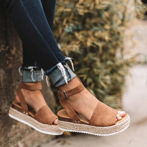 Women Chunky Bottom Hemp Rope Espadrille Sandals - fashionshoeshouse