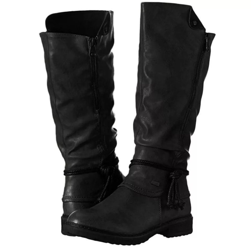 Women's vintage low heel knee high boots wide calf