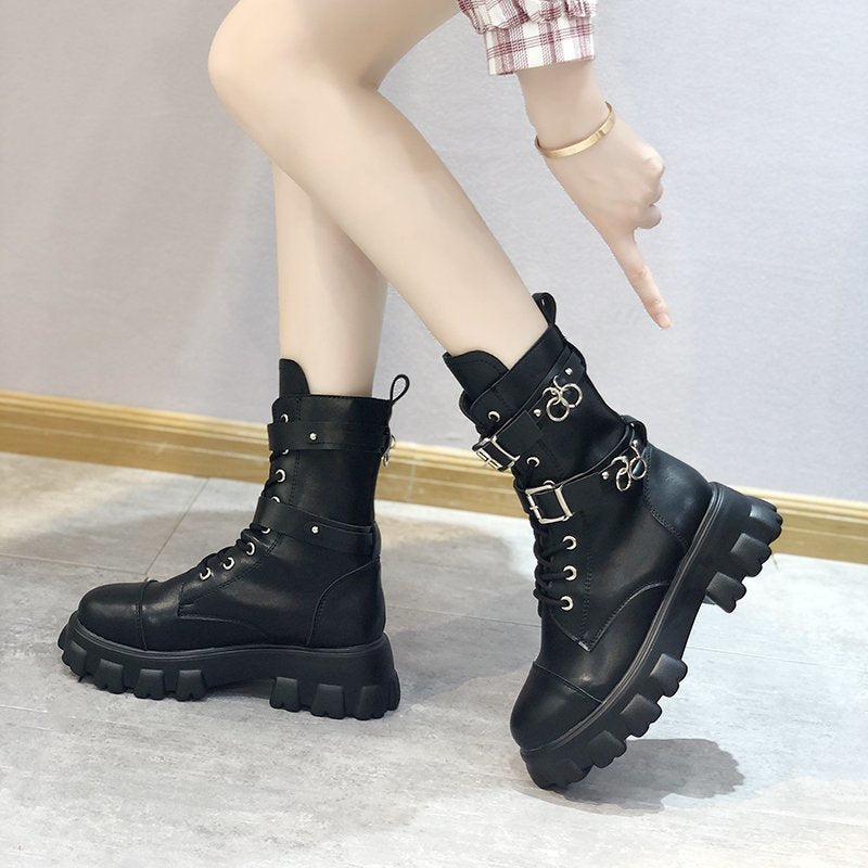 Women Motorcycle Booties Buckle Strap Short Chunky Platform Black Combat Boots