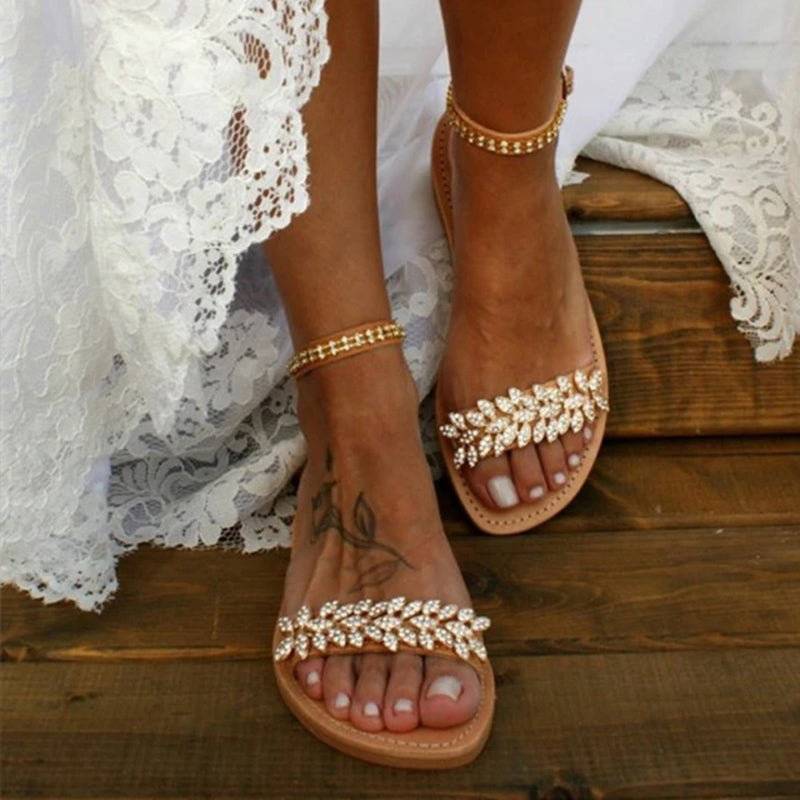 Women Rhinestone Casual Flat Wedding Sandals - fashionshoeshouse