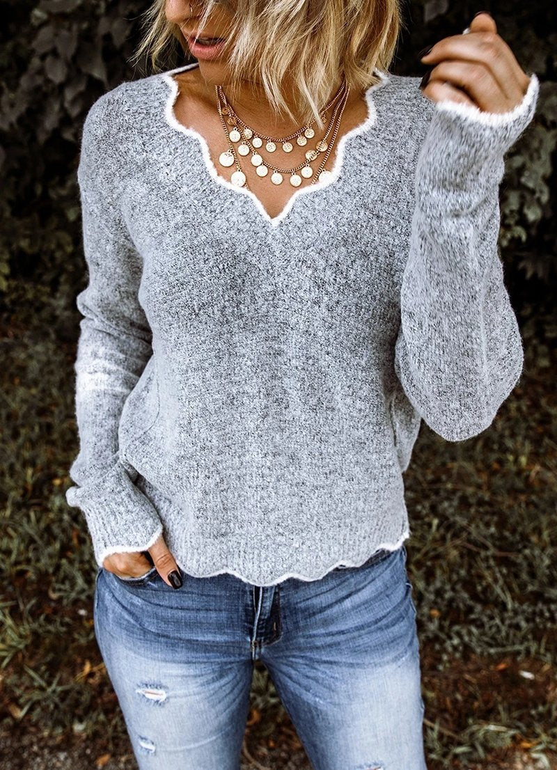 Women Gray Solid Color Holiday Floral V Neck Sweater - fashionshoeshouse