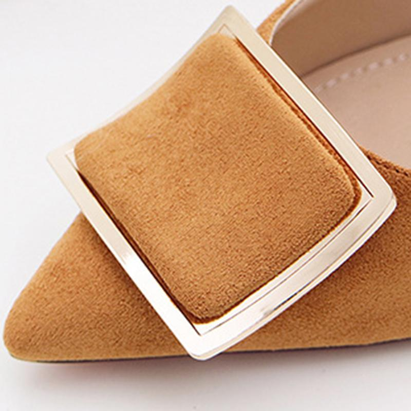 3 1/2 Inch Height Square Metal Buckle Suede Black Heels For Women - fashionshoeshouse