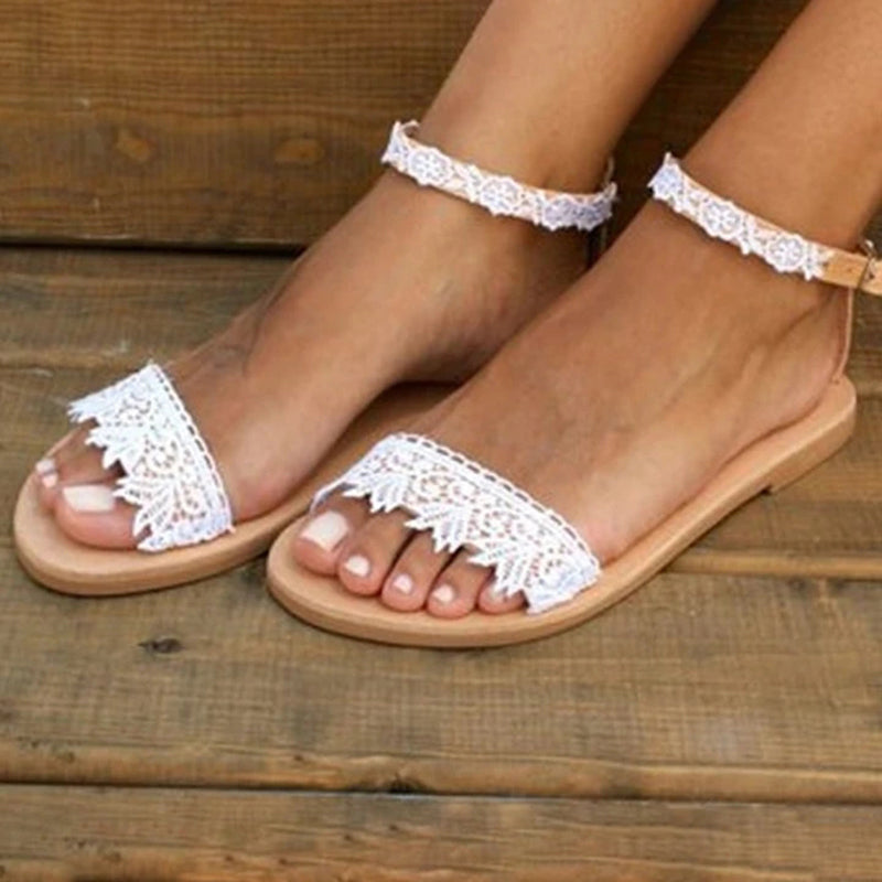 Women Flowers Lace White Wedding Sandals - fashionshoeshouse