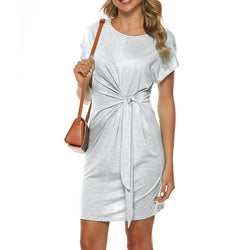 Short Sleeve Round Neck Loose Bow-knot Waist Mini Dress - fashionshoeshouse