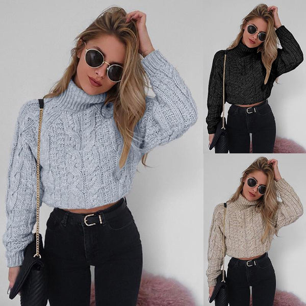 Women Long Sleeve Flowers Turtleneck Cropped Sweater - fashionshoeshouse