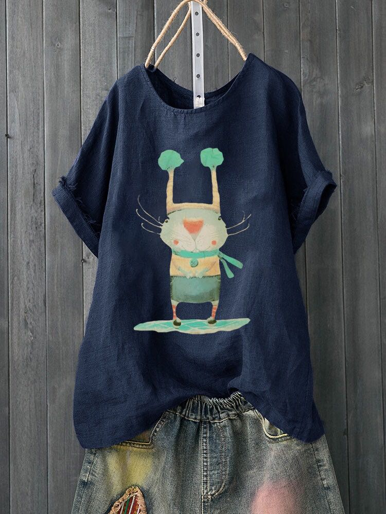 Vintage Short Sleeve Summer Cartoon Tops - fashionshoeshouse
