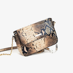 Snakeskin Print Women Shoulder Bags Chain Strap Small Crossbody Bags - fashionshoeshouse