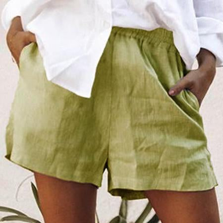 Summer Casual Plain Pocket Short Pants For Women - fashionshoeshouse