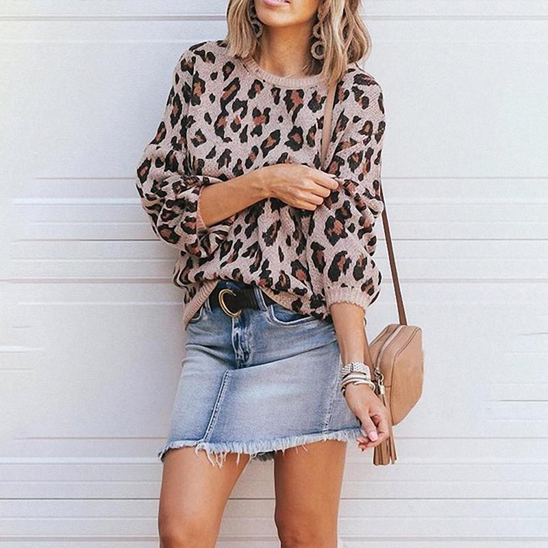 Women Knit Lantern Sleeve Leopard Sweater - fashionshoeshouse